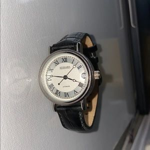 Kessaris Black Leather Strap Watch